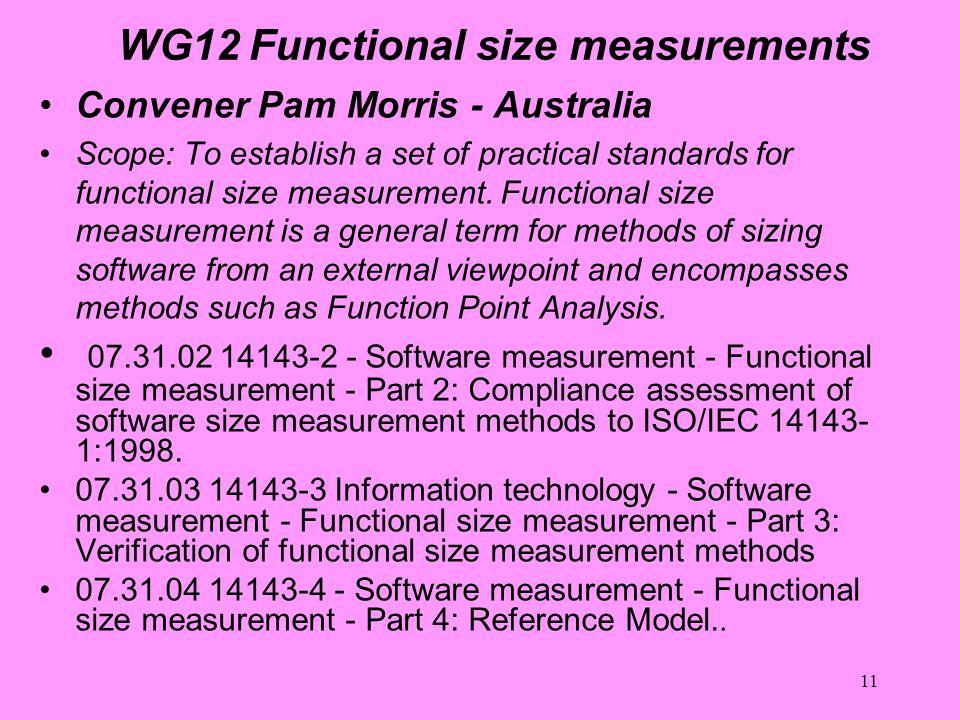 11 WG12 Functional size measurements Convener Pam Morris - Australia Scope: To establish a set of practical standards for functional size measurement.