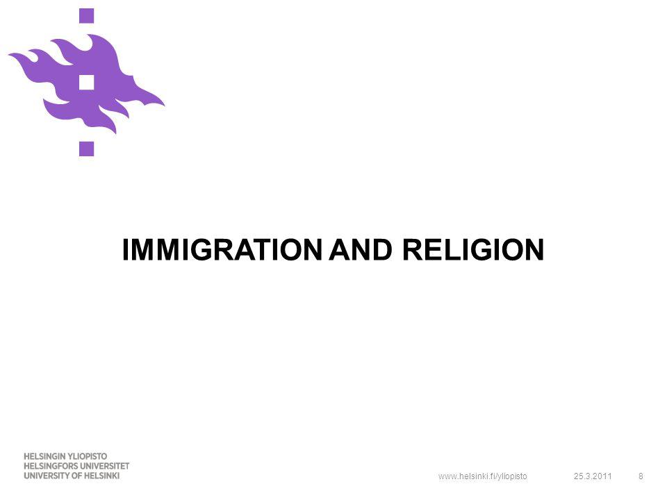 www.helsinki.fi/yliopisto IMMIGRATION AND RELIGION 25.3.20118