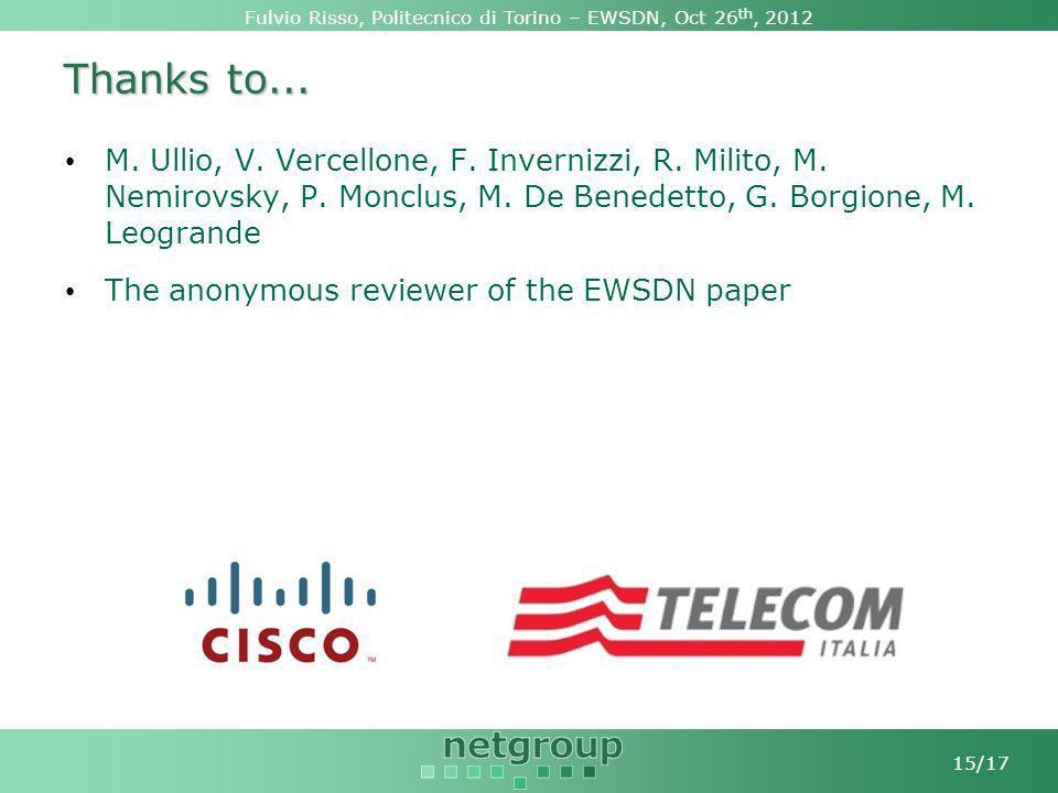 Fulvio Risso, Politecnico di Torino – EWSDN, Oct 26 th, 2012 15/17 Thanks to...