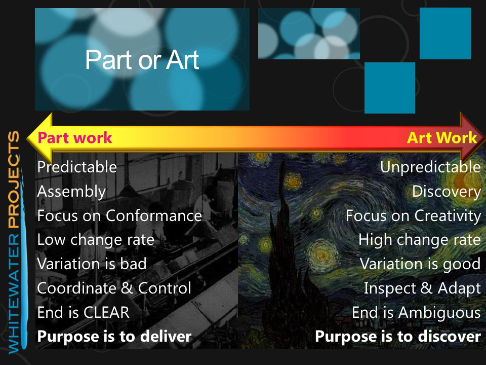 Part or Art Part workArt Work Predictable Assembly Focus on Conformance Low change rate Variation is bad Coordinate & Control End is CLEAR Purpose is