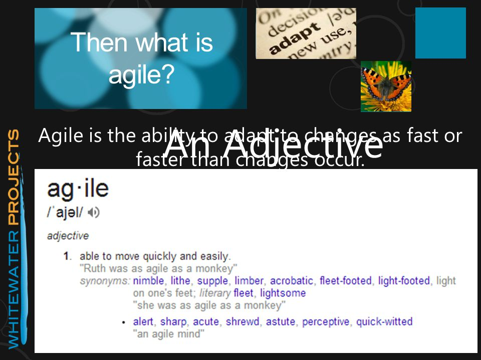Then what is agile? Agile is the ability to adapt to changes as fast or faster than changes occur. Adapt or DIE An Adjective