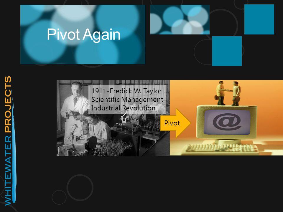 Pivot Again 1911-Fredick W. Taylor Scientific Management Industrial Revolution Pivot