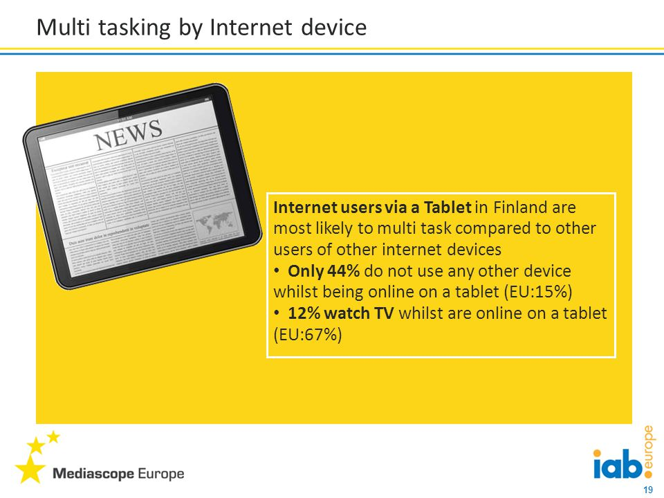 19 Multi tasking by Internet device Internet users via a Tablet in Finland are most likely to multi task compared to other users of other internet devices Only 44% do not use any other device whilst being online on a tablet (EU:15%) 12% watch TV whilst are online on a tablet (EU:67%)