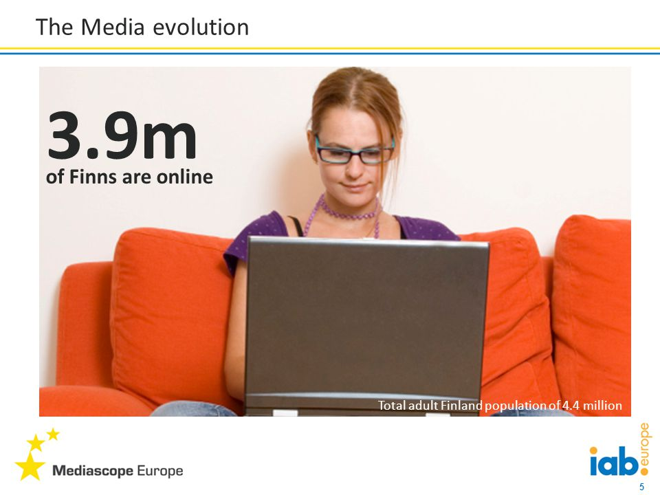 5 The Media evolution 3.9m of Finns are online Total adult Finland population of 4.4 million