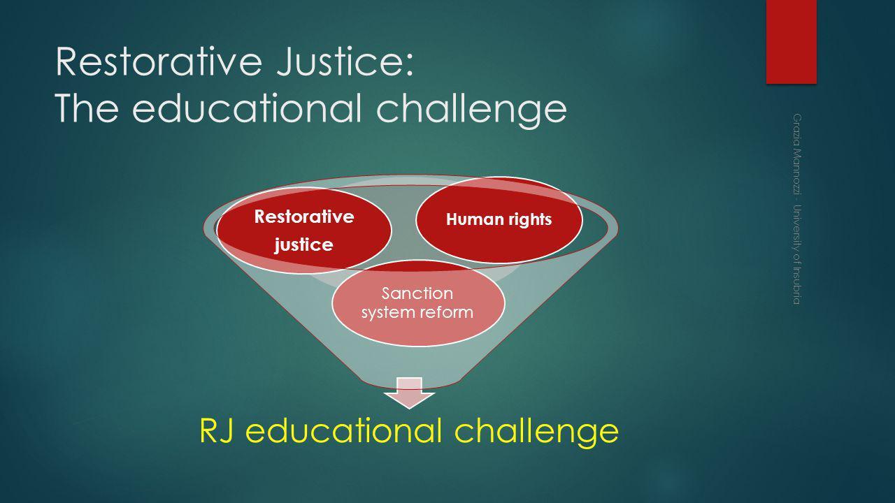 Restorative Justice: The educational challenge RJ educational challenge Sanction system reform Restorative justice Human rights Grazia Mannozzi - University of Insubria