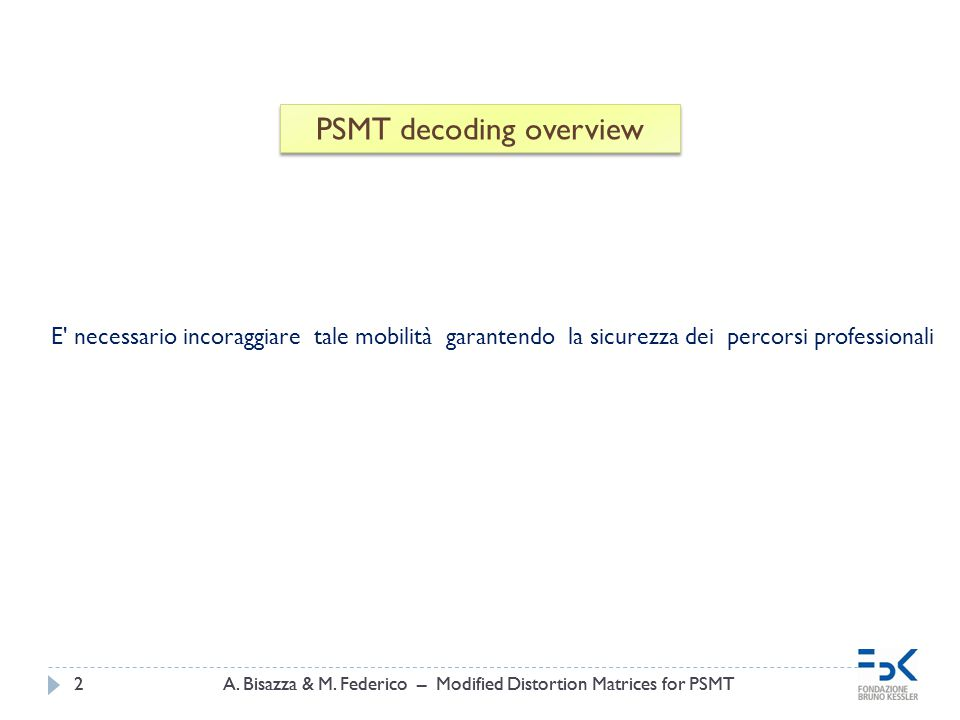 A. Bisazza & M. Federico – Modified Distortion Matrices for PSMT2 2 PSMT decoding overview E' necessario incoraggiare tale mobilità garantendo la sicu