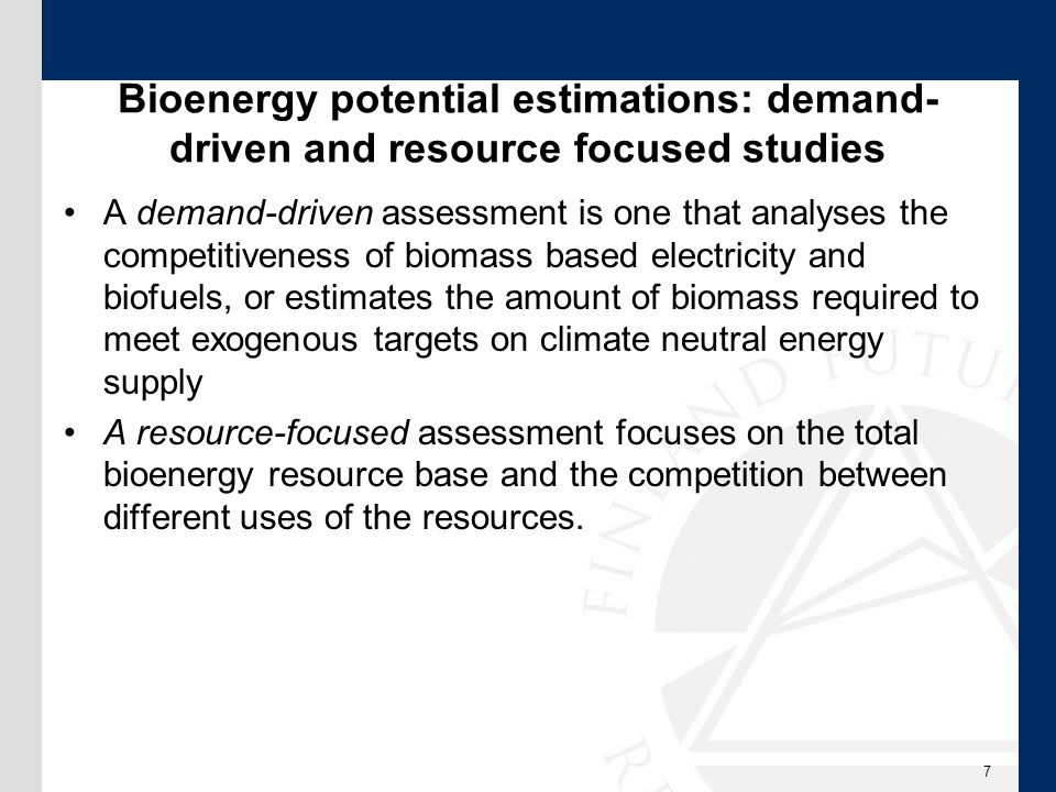 Bioenergy estimation – theoretical, technical, economic and implementation potential Theoretical: describes the theoretically usable physical energy supply in a given region in a certain time span.