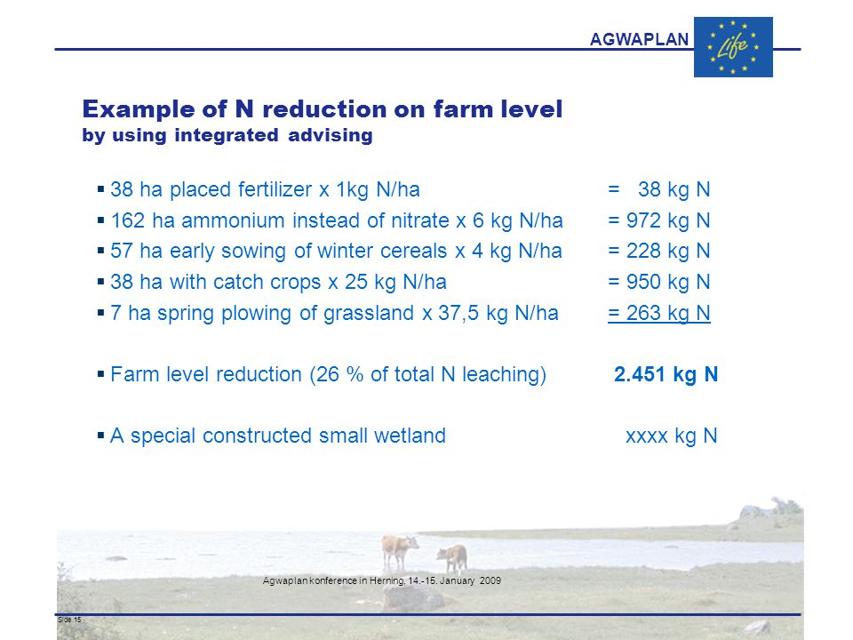 AGWAPLAN Agwaplan konference in Herning, 14.-15. January 2009 Side 15 · · Example of N reduction on farm level by using integrated advising  38 ha pl