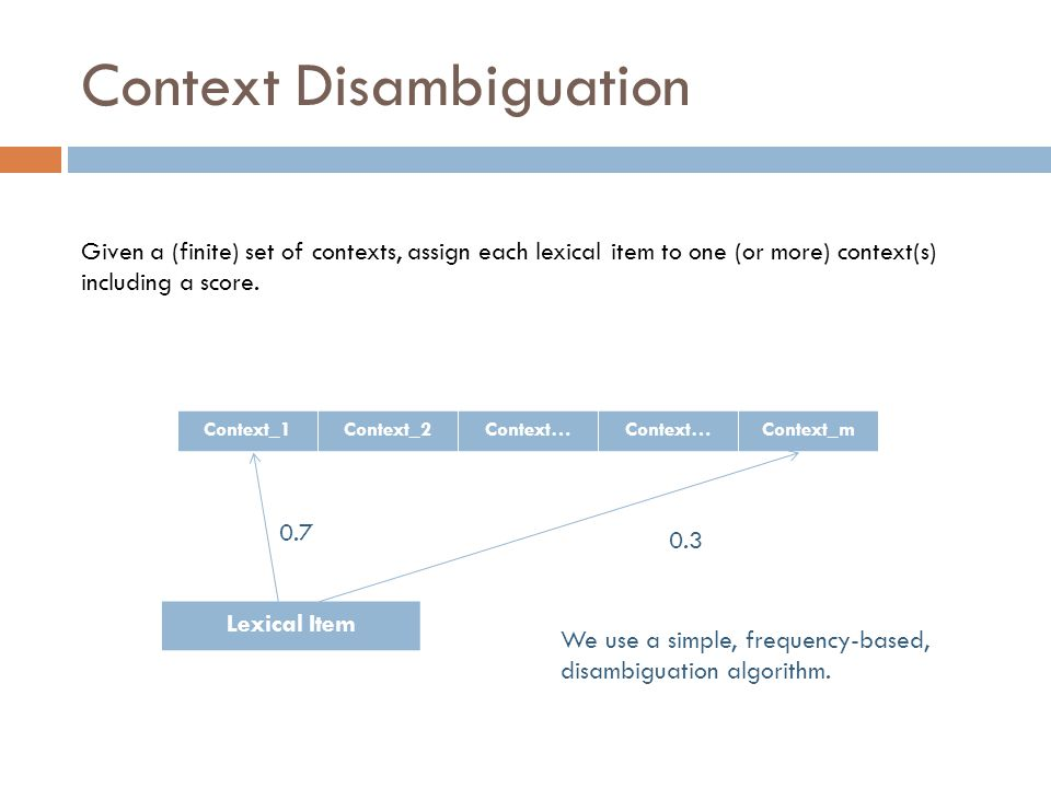 Context Disambiguation Given a (finite) set of contexts, assign each lexical item to one (or more) context(s) including a score.