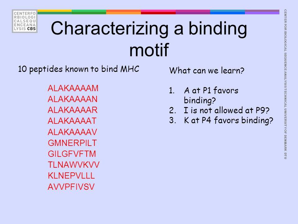 CENTER FOR BIOLOGICAL SEQUENCE ANALYSISTECHNICAL UNIVERSITY OF DENMARK DTU Characterizing a binding motif ALAKAAAAM ALAKAAAAN ALAKAAAAR ALAKAAAAT ALAKAAAAV GMNERPILT GILGFVFTM TLNAWVKVV KLNEPVLLL AVVPFIVSV 10 peptides known to bind MHC What can we learn.