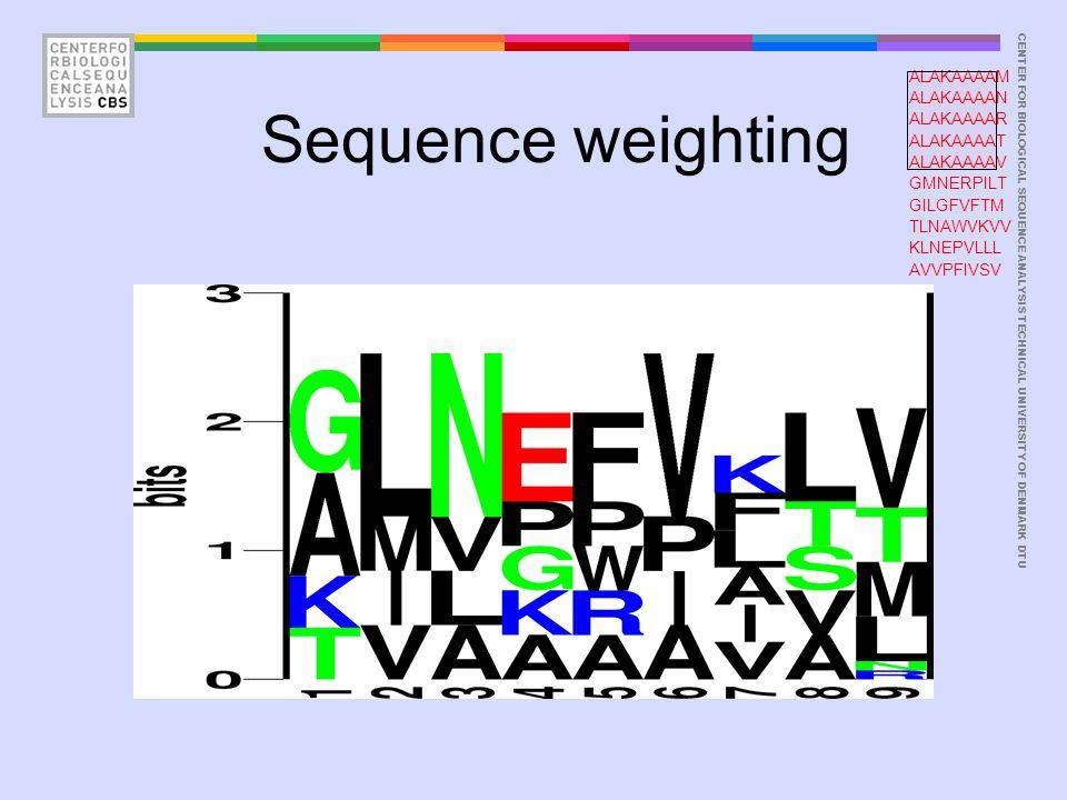 CENTER FOR BIOLOGICAL SEQUENCE ANALYSISTECHNICAL UNIVERSITY OF DENMARK DTU Sequence weighting ALAKAAAAM ALAKAAAAN ALAKAAAAR ALAKAAAAT ALAKAAAAV GMNERPILT GILGFVFTM TLNAWVKVV KLNEPVLLL AVVPFIVSV