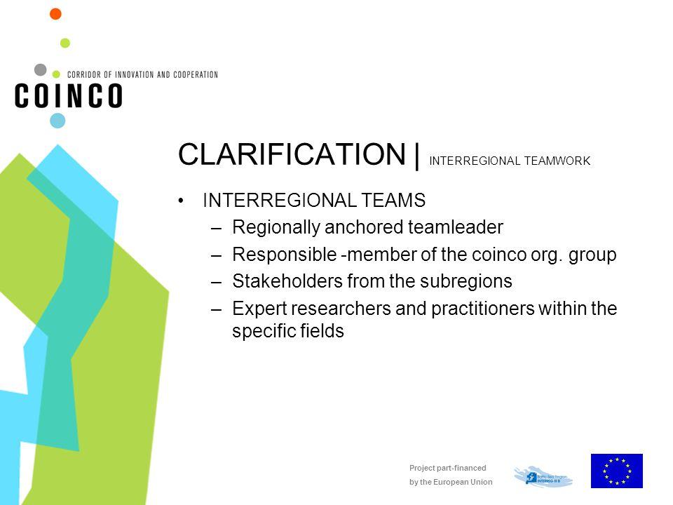 Project part-financed by the European Union CLARIFICATION | INTERREGIONAL TEAMWORK INTERREGIONAL TEAMS –Regionally anchored teamleader –Responsible -member of the coinco org.