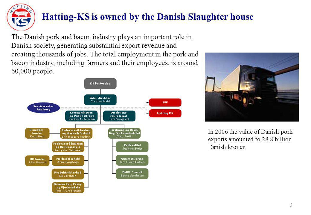Hatting-KS is owned by the Danish Slaughter house 3 The Danish pork and bacon industry plays an important role in Danish society, generating substantial export revenue and creating thousands of jobs.