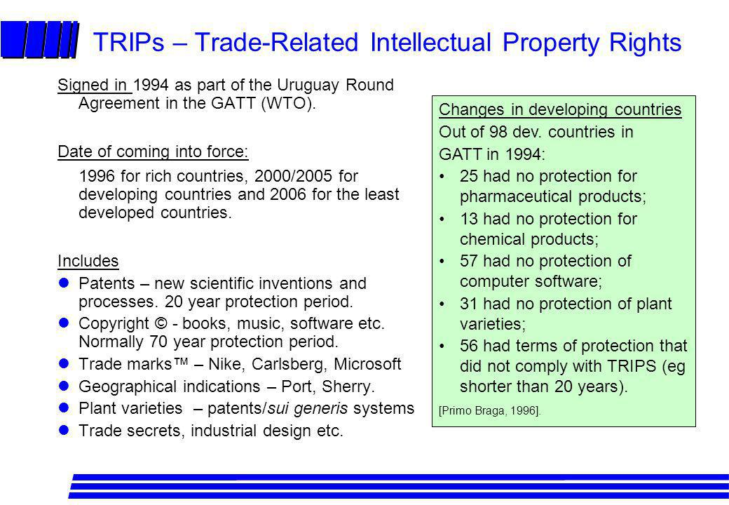 TRIPs – Trade-Related Intellectual Property Rights Signed in 1994 as part of the Uruguay Round Agreement in the GATT (WTO). Date of coming into force: