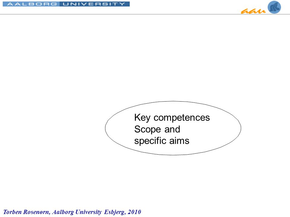 Torben Rosenørn, Aalborg University Esbjerg, 2010 Key competences Scope and specific aims