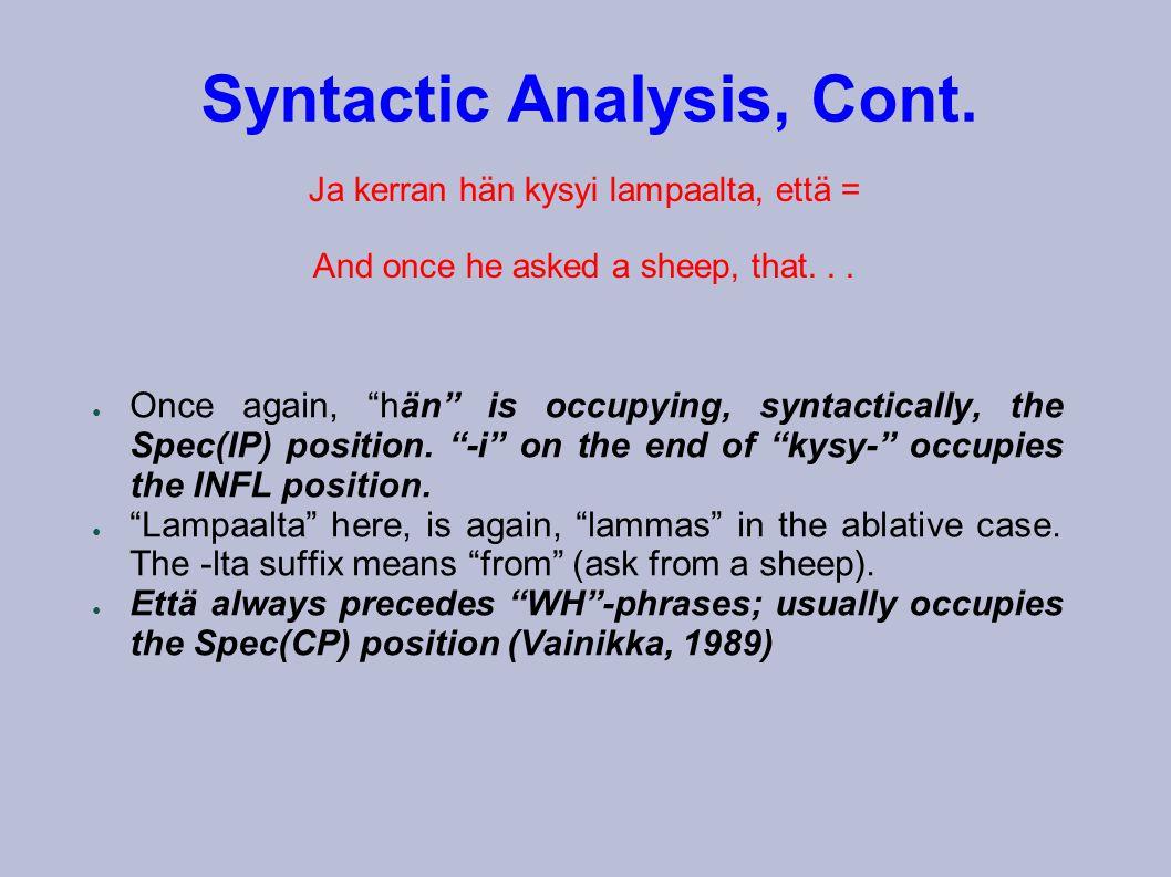 Syntactic Analysis, Cont. Ja kerran hän kysyi lampaalta, että = And once he asked a sheep, that...