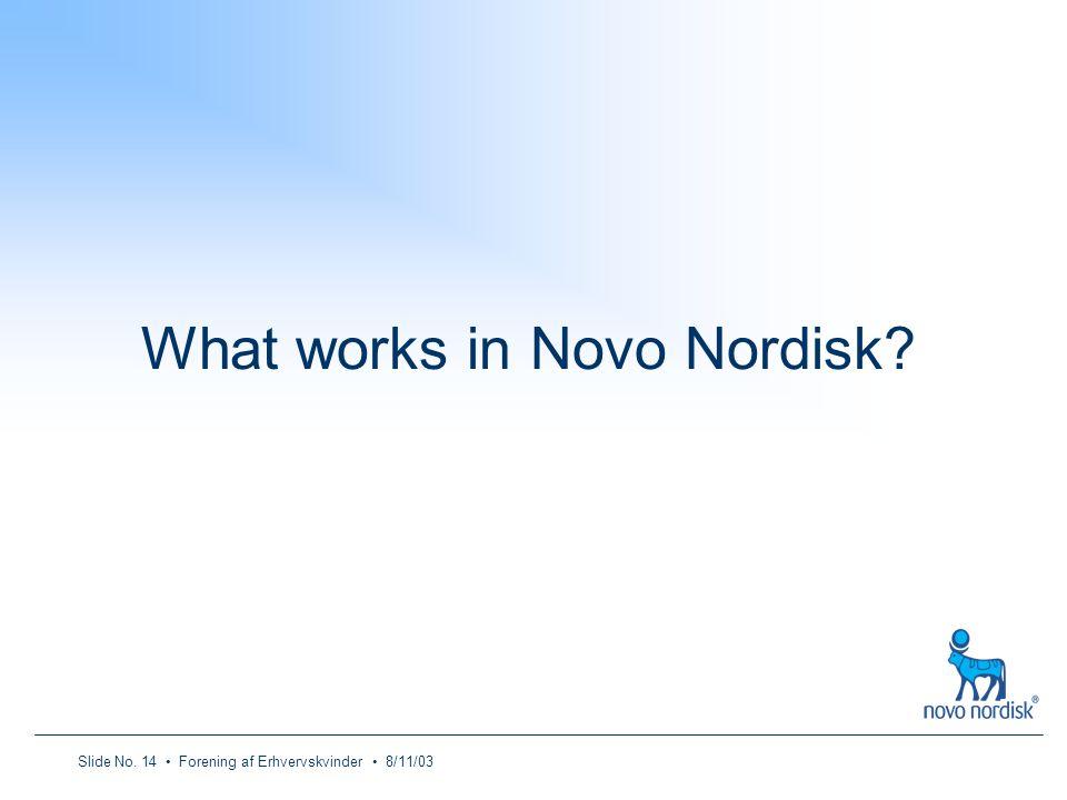 Slide No. 14 Forening af Erhvervskvinder 8/11/03 What works in Novo Nordisk?
