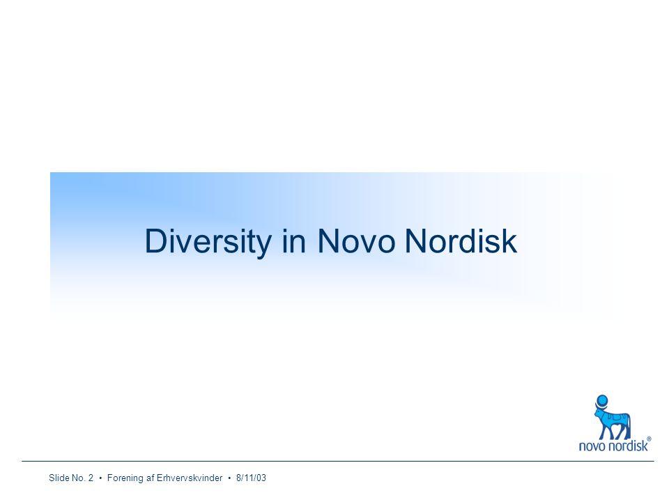 Slide No. 2 Forening af Erhvervskvinder 8/11/03 Diversity in Novo Nordisk