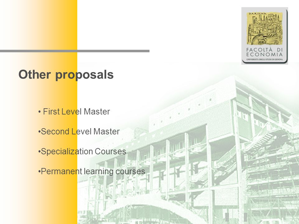 Facoltà di Economia Other proposals First Level Master Second Level Master Specialization Courses Permanent learning courses