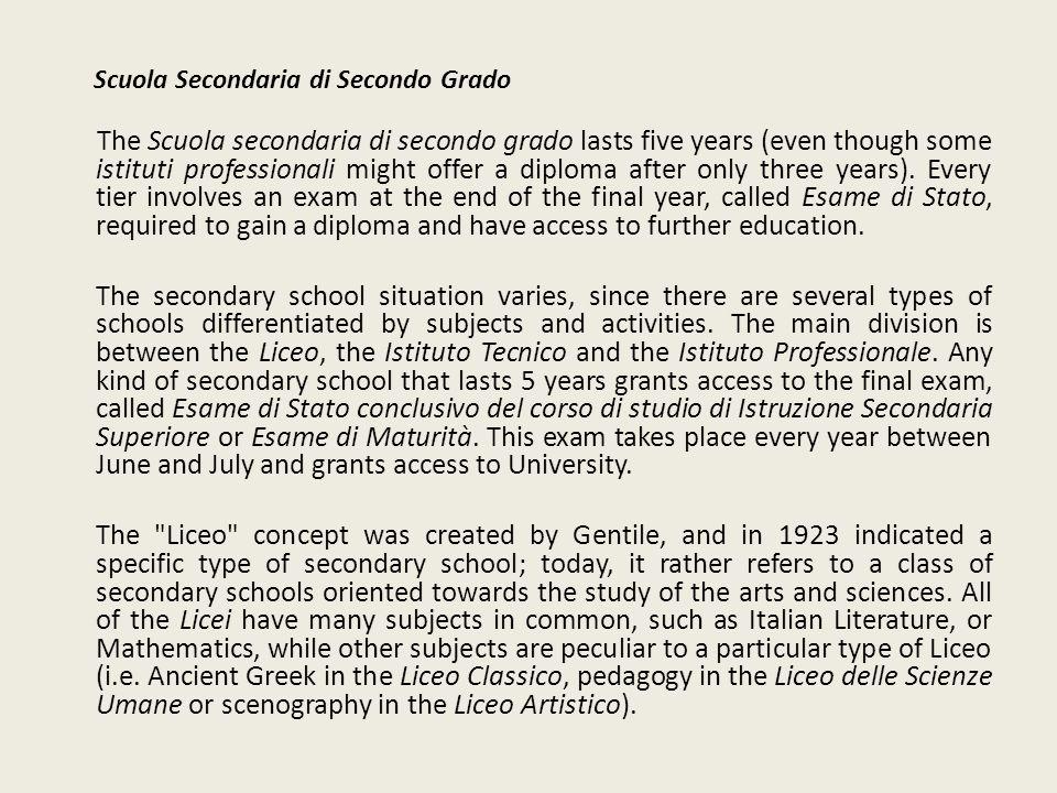 Scuola Secondaria di Secondo Grado The Scuola secondaria di secondo grado lasts five years (even though some istituti professionali might offer a dipl