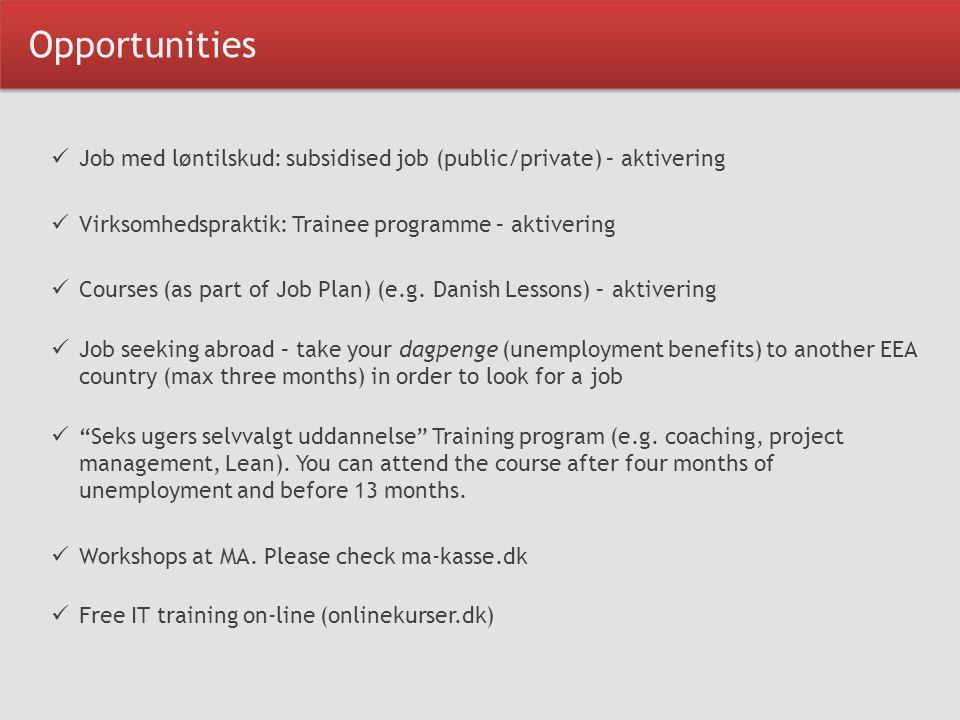 Opportunities Job med løntilskud: subsidised job (public/private) – aktivering Virksomhedspraktik: Trainee programme – aktivering Courses (as part of Job Plan) (e.g.