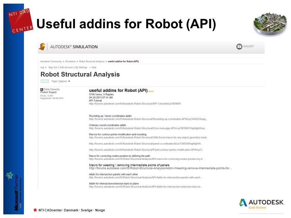 NTI CADcenter · Danmark · Sverige · Norge Useful addins for Robot (API)