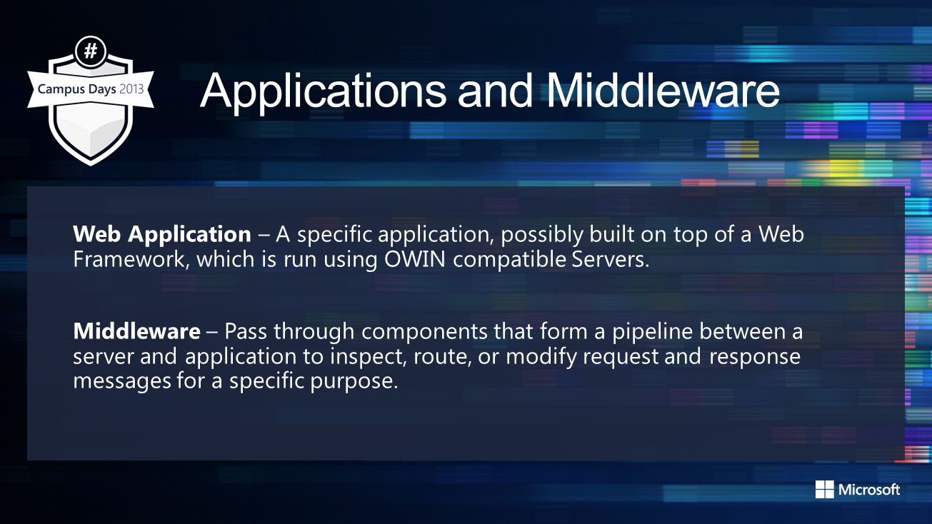 Demo Get Started with OWIN and Middlewares https://gist.github.com/s093294/6868042https://gist.github.com/s093294/6868042 (only show page between 12:00 and 14:00) public class Startup { public void Configuration(IAppBuilder app) { app.UseWelcomePage(); }