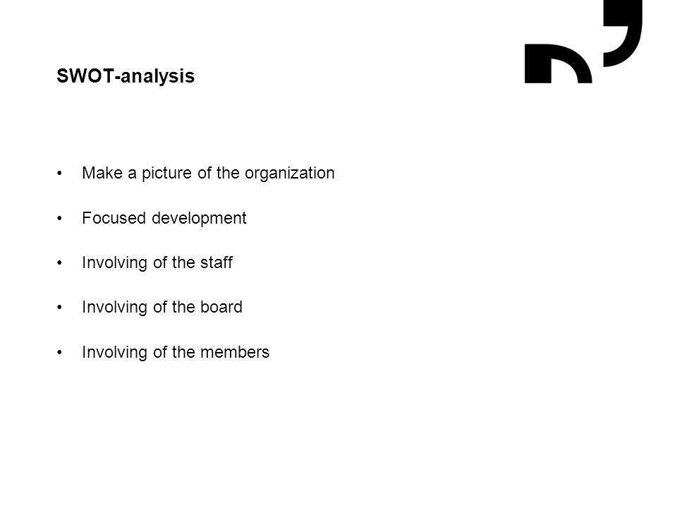 Grafik og illustrationer placeres efter hjælpelinjer SWOT-analysis Make a picture of the organization Focused development Involving of the staff Involving of the board Involving of the members