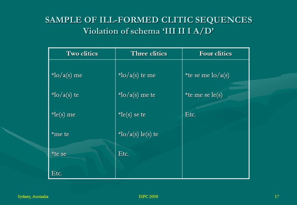 Sydney, AustraliaISFC 200817 SAMPLE OF ILL-FORMED CLITIC SEQUENCES Violation of schema 'III II I A/D' Two clitics Three clitics Four clitics *lo/a(s) me *lo/a(s) te *le(s) me *me te *te se Etc.