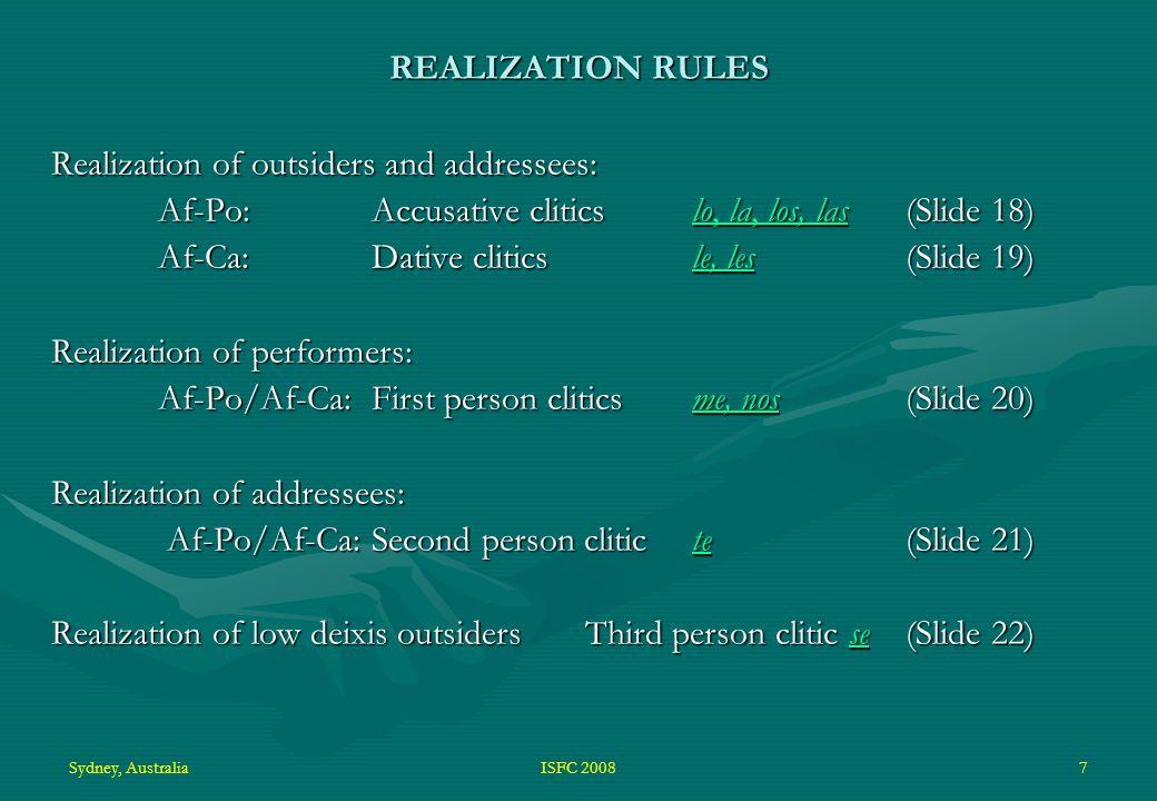 Sydney, AustraliaISFC 20087 REALIZATION RULES Realization of outsiders and addressees: Af-Po: Accusative cliticslo, la, los, las (Slide 18) lo, la, los, laslo, la, los, las Af-Ca: Dative clitics le, les (Slide 19) le, lesle, les Realization of performers: Af-Po/Af-Ca: First person clitics me, nos (Slide 20) me, nosme, nos Realization of addressees: Af-Po/Af-Ca: Second person clitic te (Slide 21) Af-Po/Af-Ca: Second person clitic te (Slide 21)te Realization of low deixis outsiders Third person clitic se(Slide 22) se