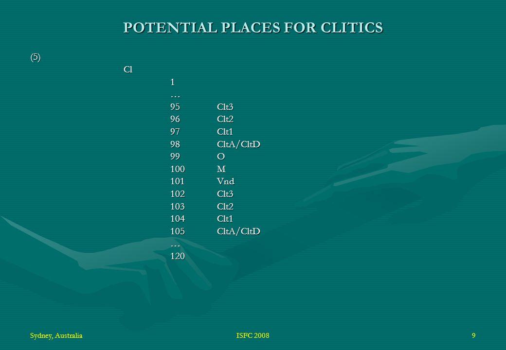 Sydney, AustraliaISFC 20089 POTENTIAL PLACES FOR CLITICS (5)Cl1… 95Clt3 96Clt2 97Clt1 98CltA/CltD 99O 100M 101Vnd 102Clt3 103Clt2 104Clt1 105CltA/CltD …120