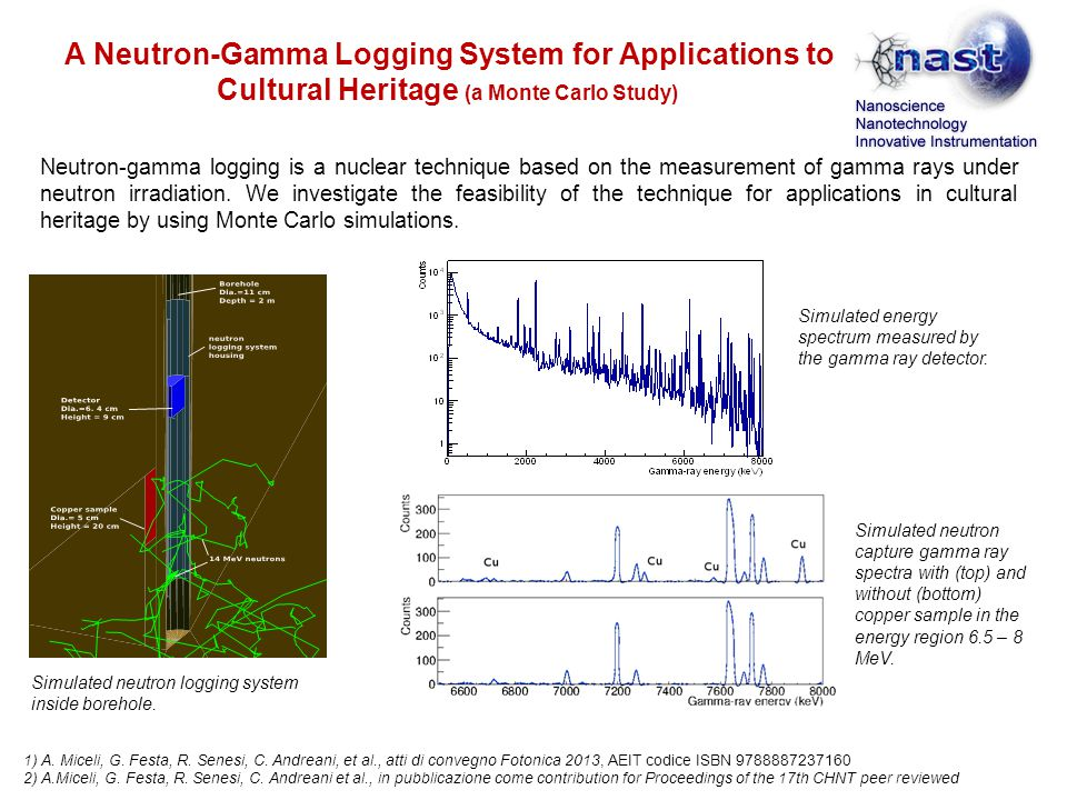 A Neutron-Gamma Logging System for Applications to Cultural Heritage (a Monte Carlo Study) Neutron-gamma logging is a nuclear technique based on the measurement of gamma rays under neutron irradiation.