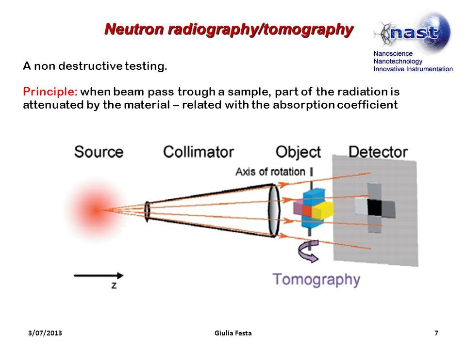 3/07/2013Giulia Festa7 Neutron radiography/tomography A non destructive testing. Principle: when beam pass trough a sample, part of the radiation is a