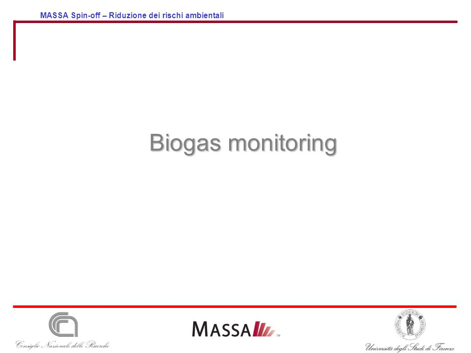 MASSA Spin-off – Riduzione dei rischi ambientali Biogas monitoring