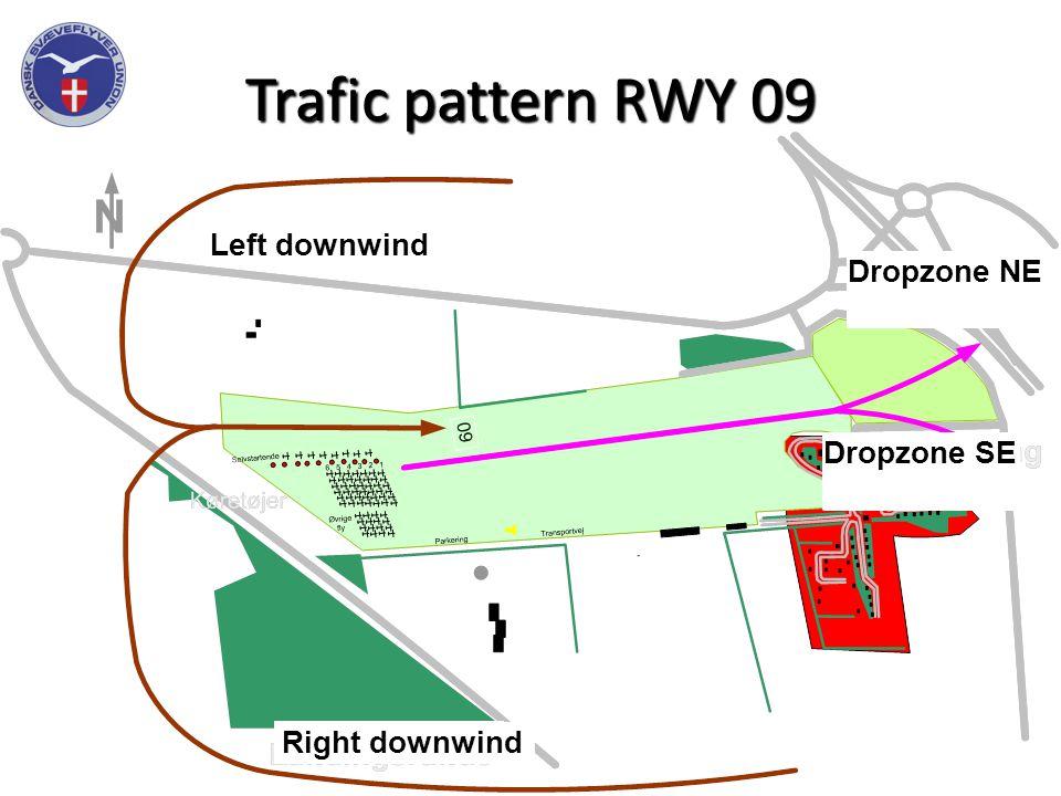 Trafic pattern RWY 09 Landingsrunde Landingsrunde Dropzone NE Dropzone SE Left downwind Right downwind