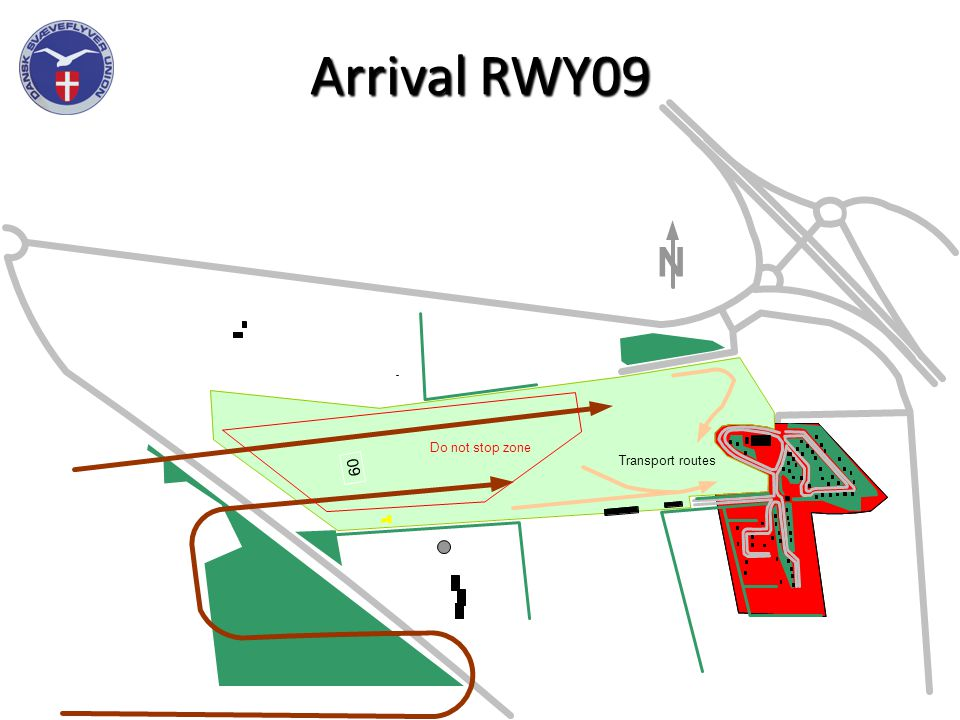 Arrival RWY09 Stop 0 9 N Transport routes Do not stop zone