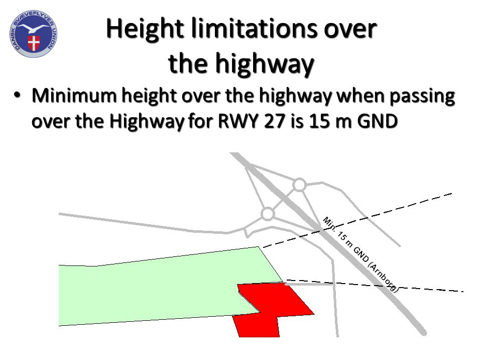 Height limitations over the highway Minimum height over the highway when passing over the Highway for RWY 27 is 15 m GND Minimum height over the highway when passing over the Highway for RWY 27 is 15 m GND