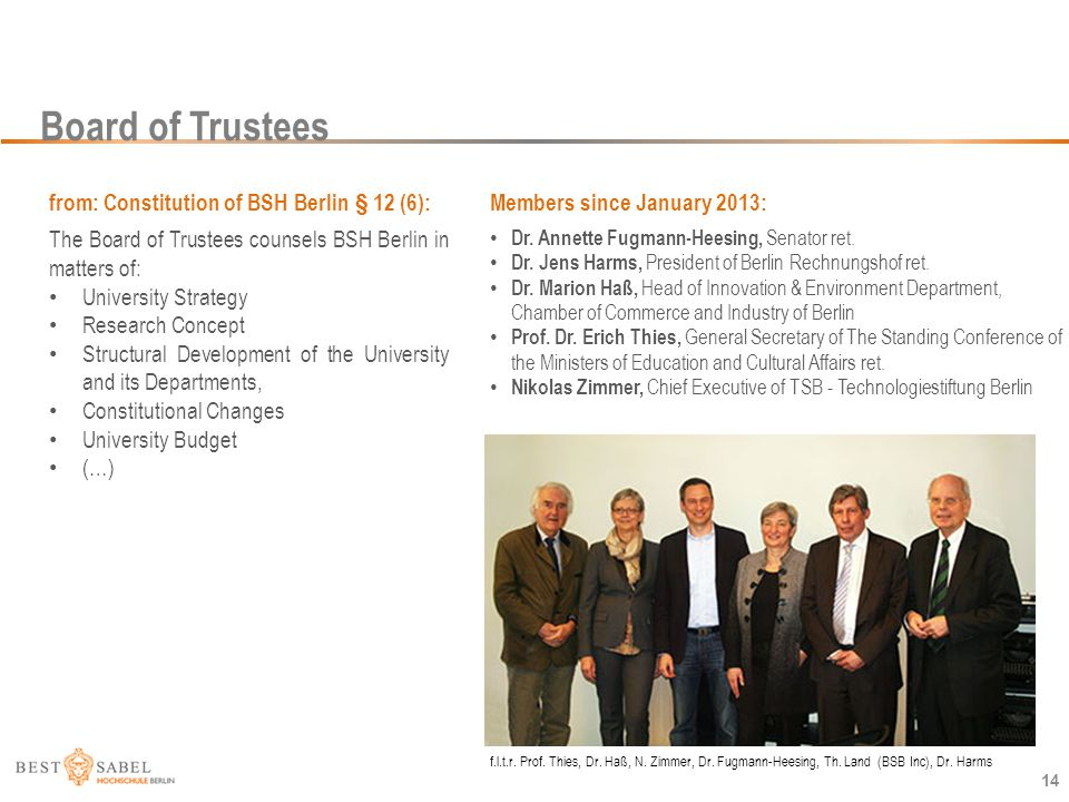 Board of Trustees 14 Members since January 2013: Dr. Annette Fugmann-Heesing, Senator ret. Dr. Jens Harms, President of Berlin Rechnungshof ret. Dr. M