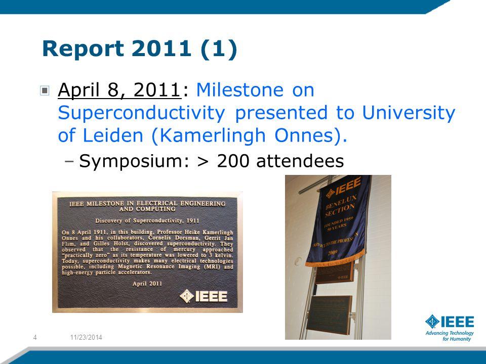 Report 2011 (1) April 8, 2011: Milestone on Superconductivity presented to University of Leiden (Kamerlingh Onnes).