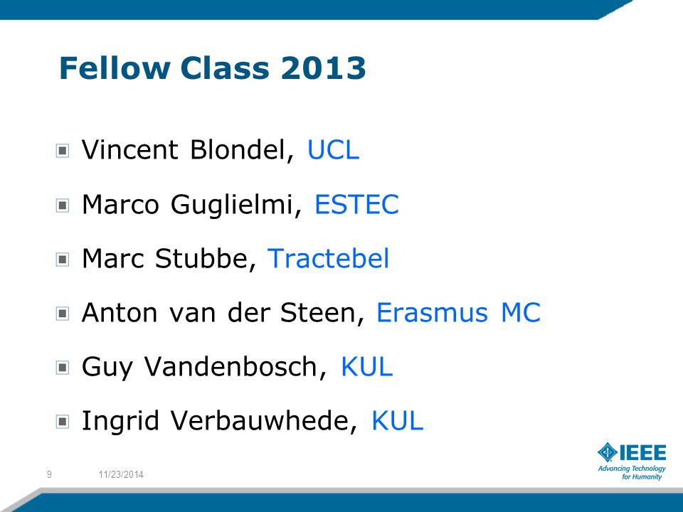 Fellow Class 2013 Vincent Blondel, UCL Marco Guglielmi, ESTEC Marc Stubbe, Tractebel Anton van der Steen, Erasmus MC Guy Vandenbosch, KUL Ingrid Verbauwhede, KUL 11/23/20149