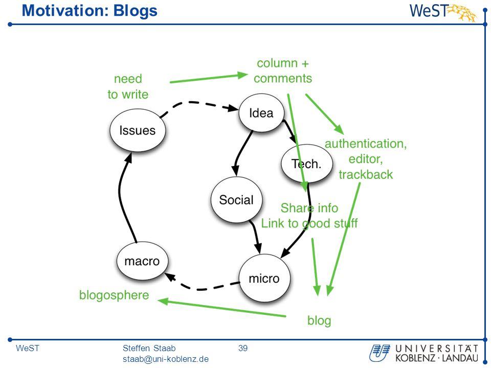 Steffen Staab staab@uni-koblenz.de 39WeST Motivation: Blogs
