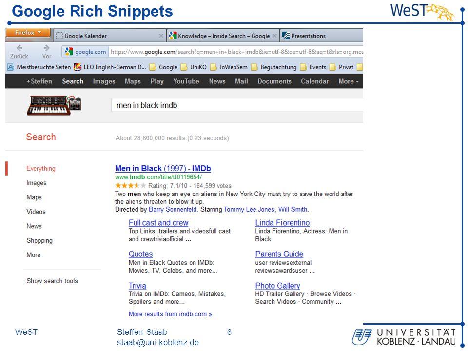 Steffen Staab staab@uni-koblenz.de 8WeST Google Rich Snippets