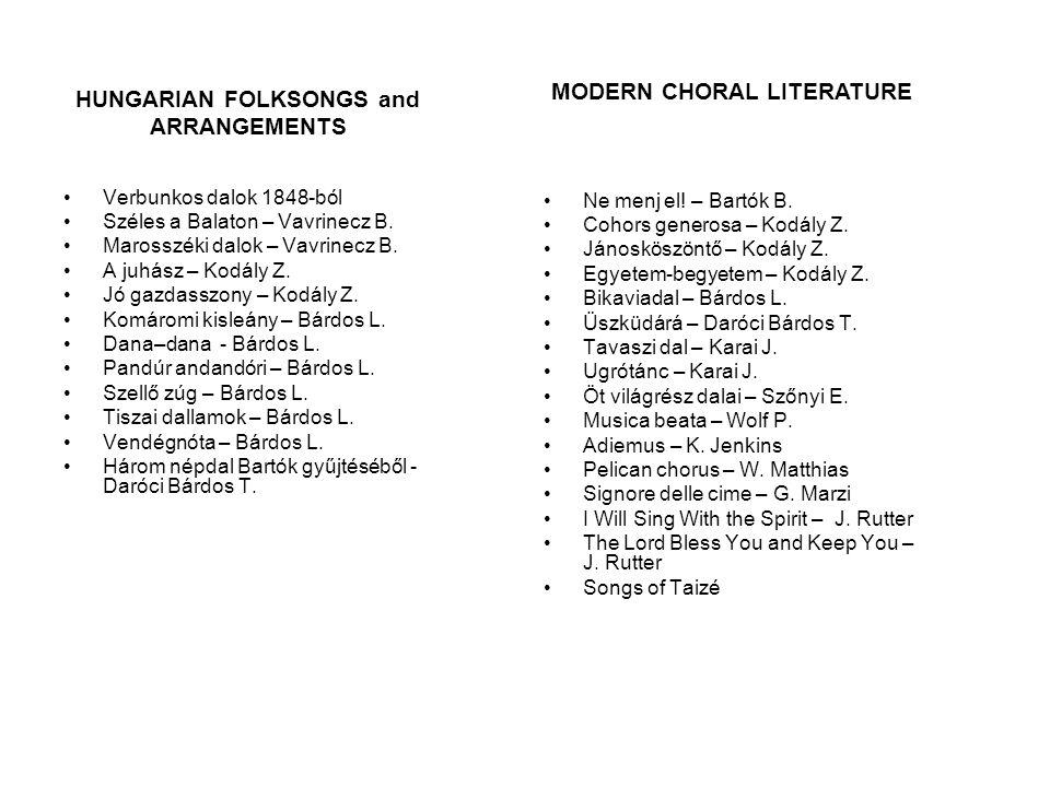 Verbunkos dalok 1848-ból Széles a Balaton – Vavrinecz B. Marosszéki dalok – Vavrinecz B. A juhász – Kodály Z. Jó gazdasszony – Kodály Z. Komáromi kisl