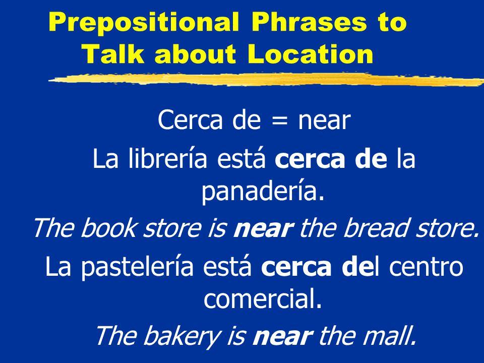 Prepositional Phrases to Talk about Location Detrás de = behind La motocicleta está detrás del autobús.
