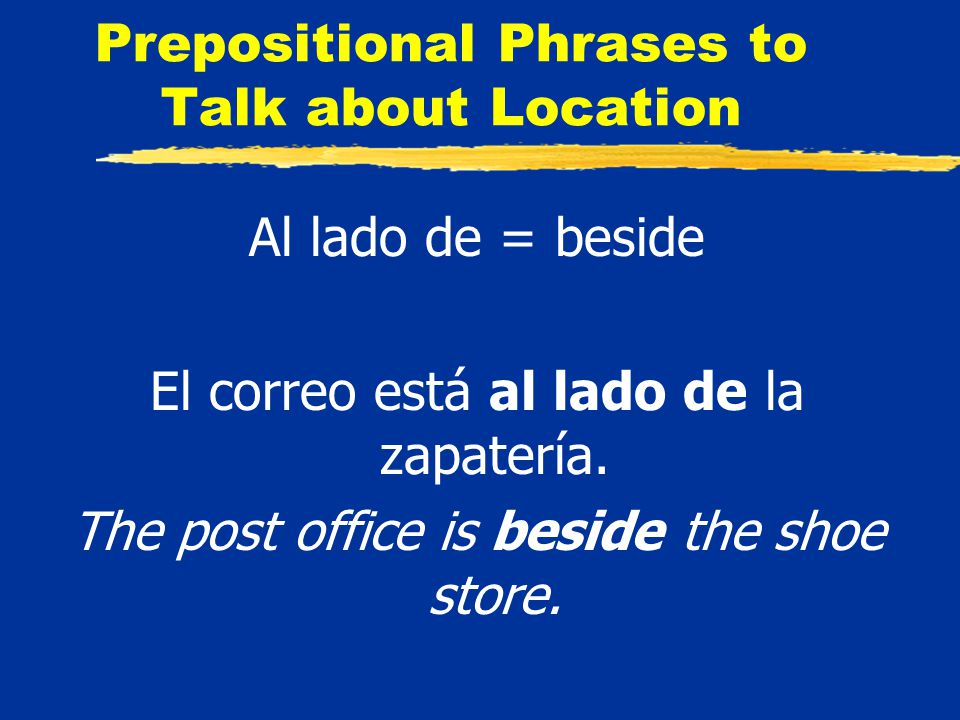 Prepositional Phrases to Talk about Location Al lado de = beside El correo está al lado de la zapatería.