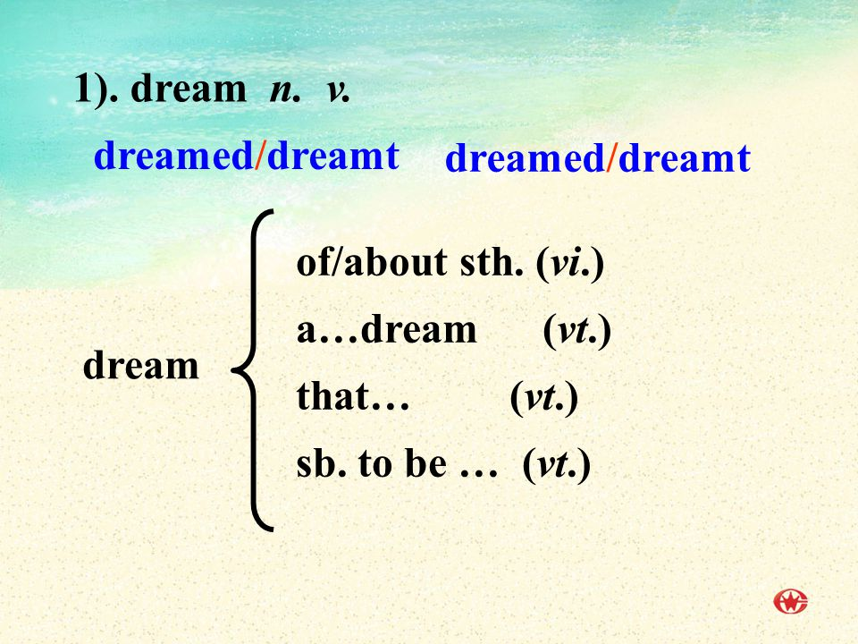 1).dream n. v. of/about sth. (vi.) a…dream (vt.) that… (vt.) sb.