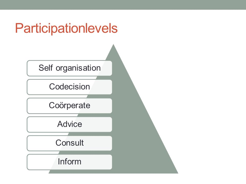 Participationlevels InformConsultAdviceCoörperateSelf organisationCodecision