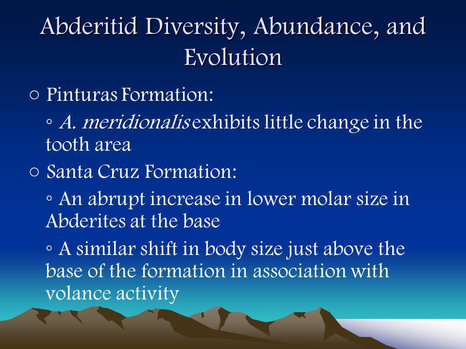 Abderitid Diversity, Abundance, and Evolution ○ Pinturas Formation: ◦ A.