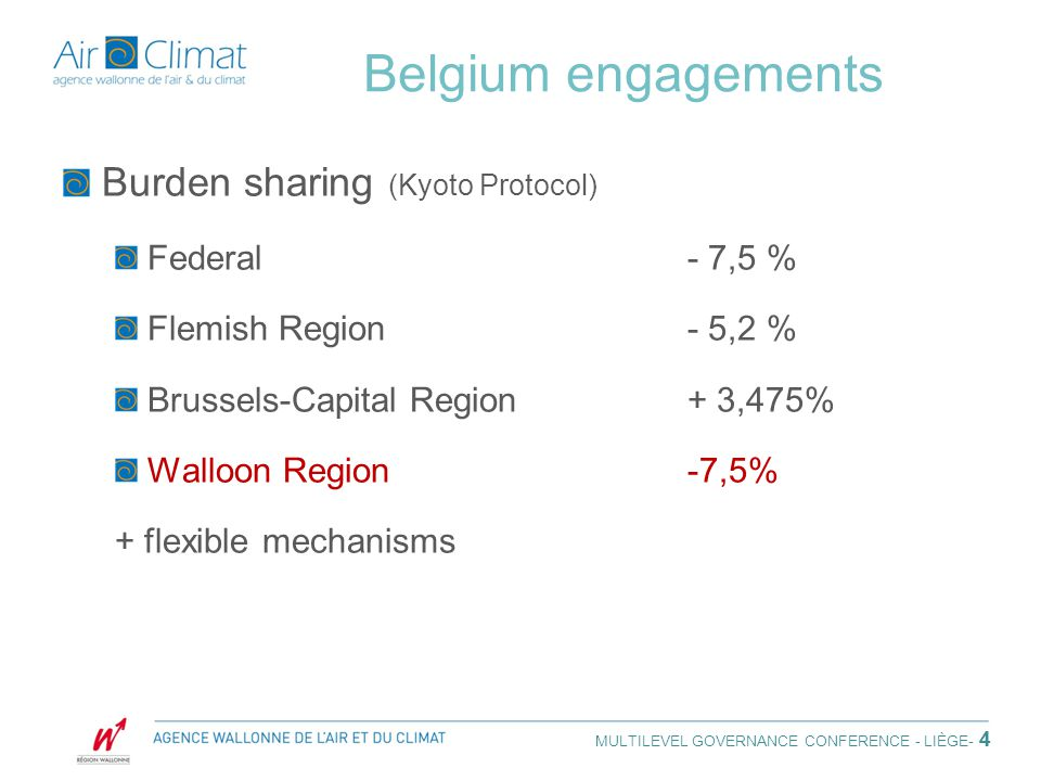 4 Belgium engagements Burden sharing (Kyoto Protocol) Federal- 7,5 % Flemish Region- 5,2 % Brussels-Capital Region+ 3,475% Walloon Region-7,5% + flexible mechanisms MULTILEVEL GOVERNANCE CONFERENCE - LIÈGE - 4