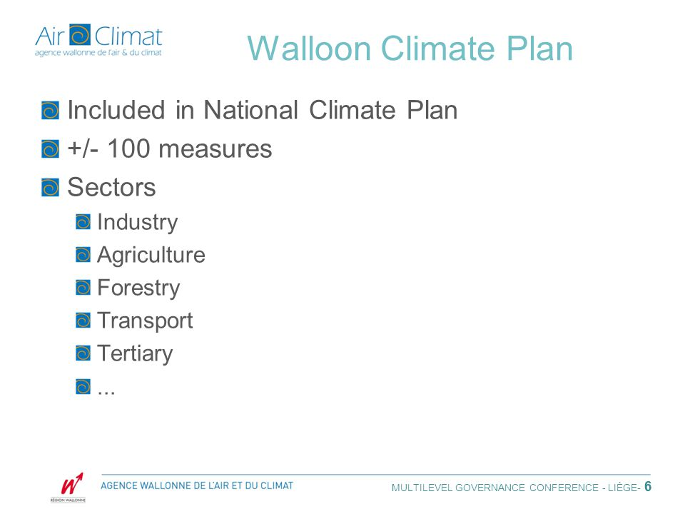 6 Walloon Climate Plan Included in National Climate Plan +/- 100 measures Sectors Industry Agriculture Forestry Transport Tertiary...